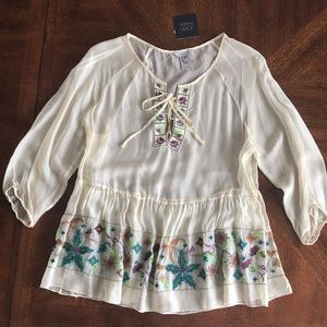 John Mark ivory chiffon embroidered sheer  blouse